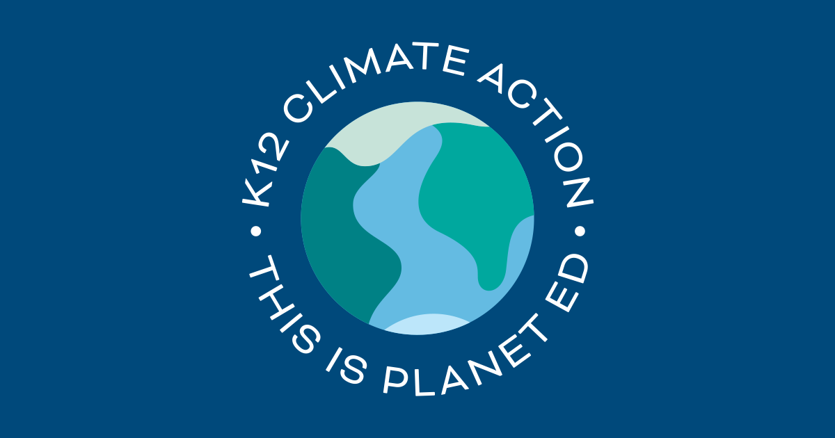 K12 Climate Action circle logo on blue background